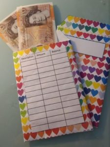 Cash budget with hearts cash envelope
