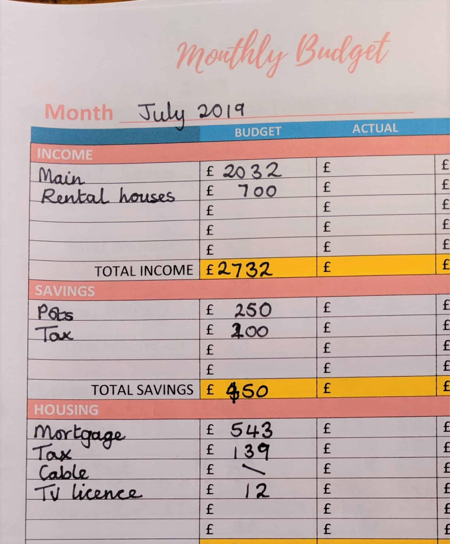 Budget planner sheet 1 close up for July 2019