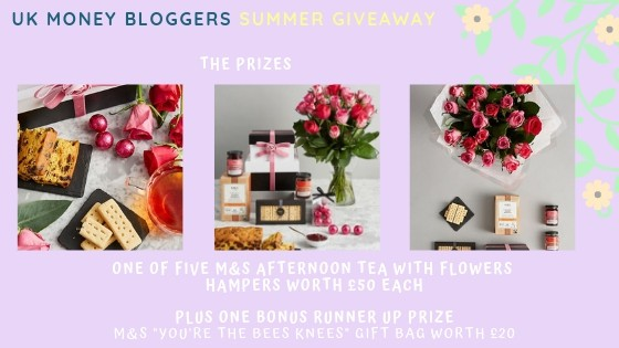 UK Money Bloggers Summer Giveaway showing M & S hampers that you can win