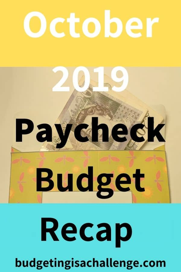 Part of my budget review is to close off my budget for the month. Read my monthly budget review for October 2019. I analyse which budget areas I overspent, my budgeting achievements and next steps for paying off debt fast and saving more. #paycheckbudget #budgeting#cashenvelope #cashenvelopes