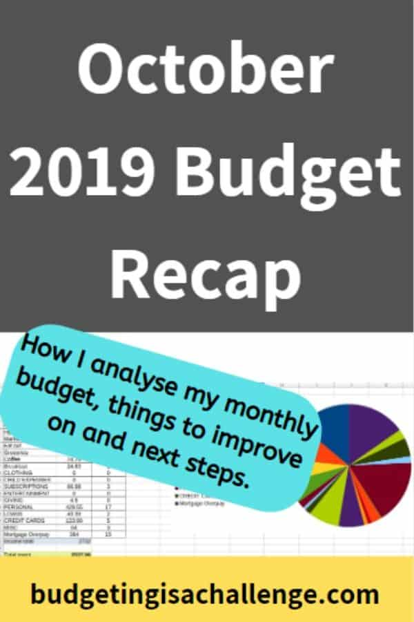 Part of my budget review is to close off my budget for the month. Read my monthly budget review for October 2019. I analyse where I overspent, my budget achievements and next steps for paying off debt fast and saving more. #paycheckbudget #budgeting#cashenvelope #cashenvelopes