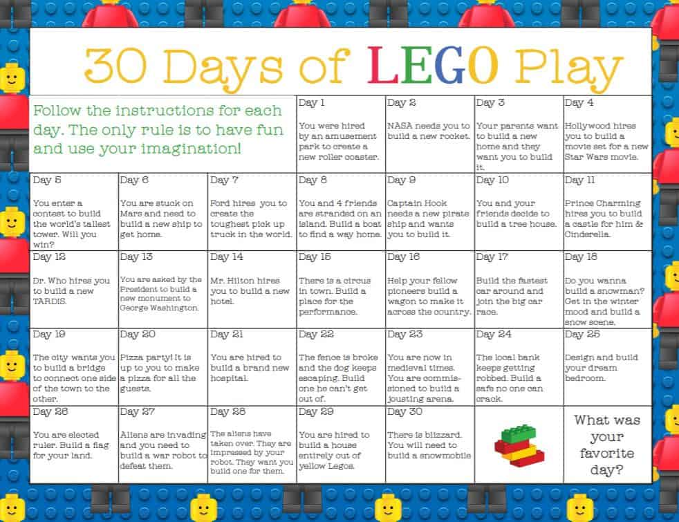 Need to keep the kids learning? This 30 days of lego challege will break up the serious learning tasks!