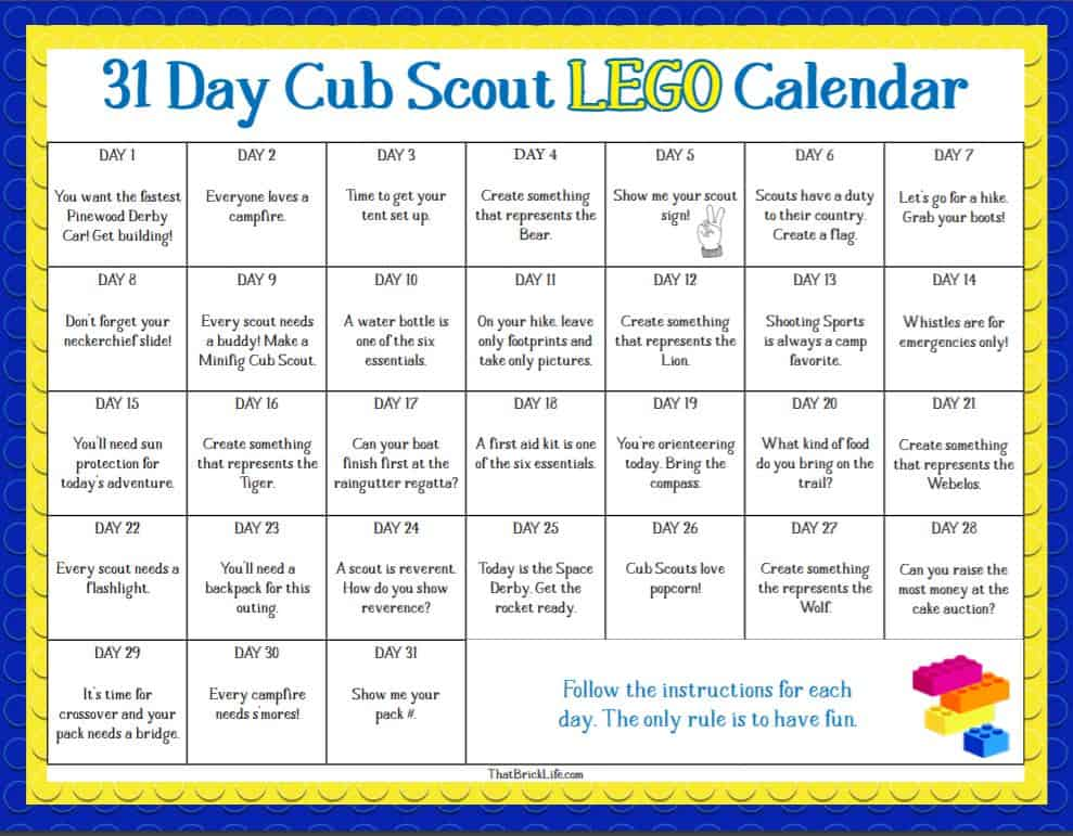 Is your child a scout? These lego challengeswill make learning fun. From thatbricklife.com
