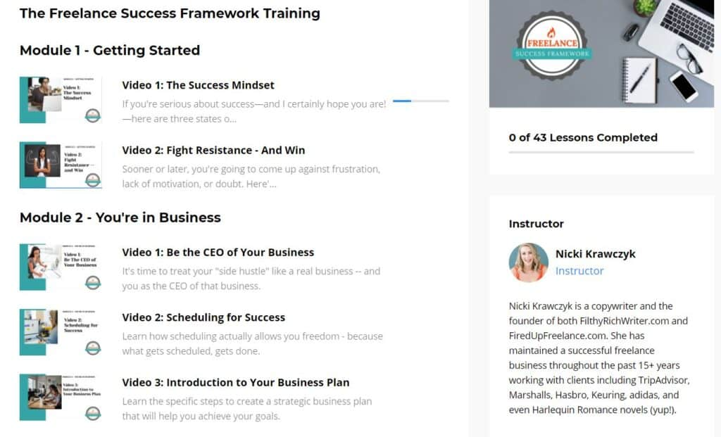 Module 1 and 2 Fired Up Freelance course