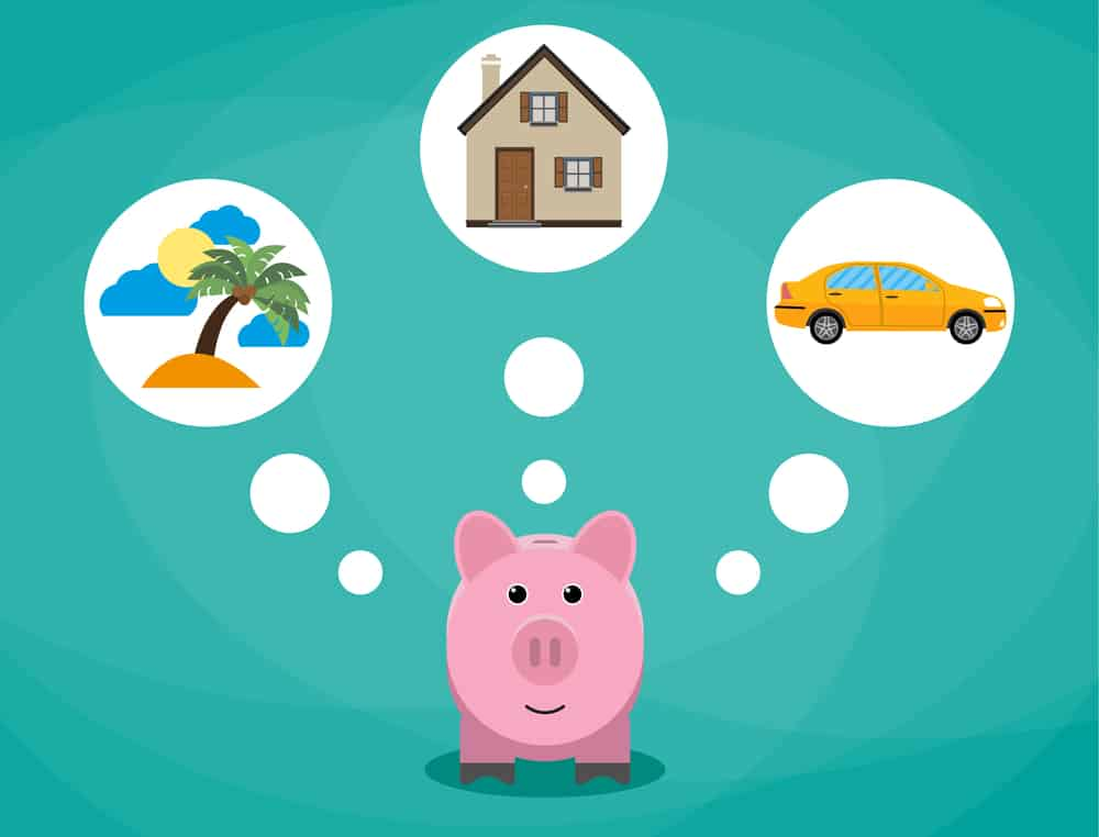 Piggy bank and things to save for like a care, holiday and a house.